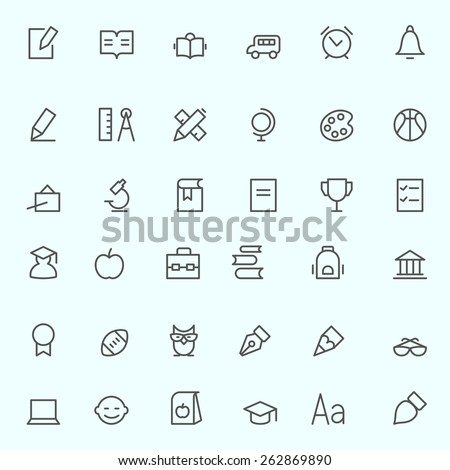 Education icons, simple and thin line design  - stock vector