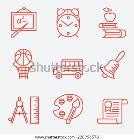 Education icons, thin line style, flat design - stock vector