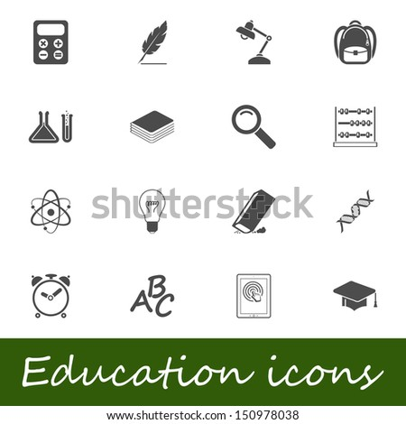 Education icons. Vector illustration. - stock vector