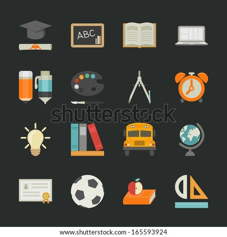 Education icons with black background , eps10 vector format - stock vector