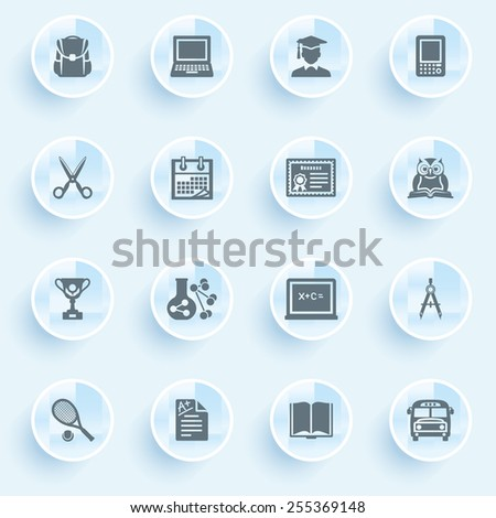 Education icons with buttons on blue background. - stock vector