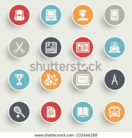 Education icons with color buttons on gray background. - stock vector