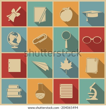 Education icons with long shadow. Vector set, EPS 8. - stock vector