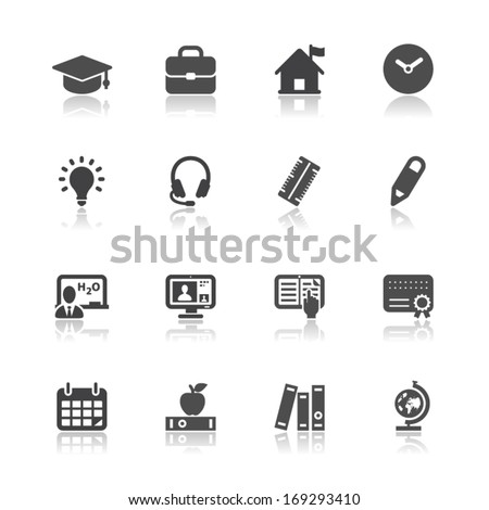 Education Icons with White Background - stock vector