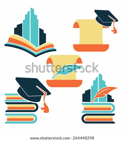 education in university, vector collection of reading symbols, books, studying and education - stock vector