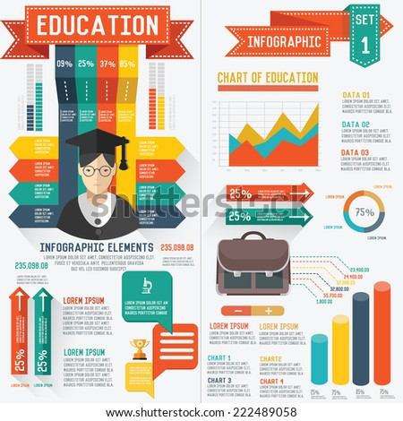 Education info graphic design,clean vector - stock vector