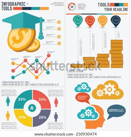 Education info graphic design on white background,clean vector - stock vector
