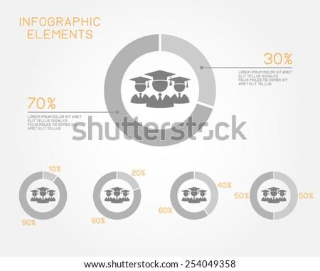 education infographic elements pie chart student graduation school university vector template - stock vector