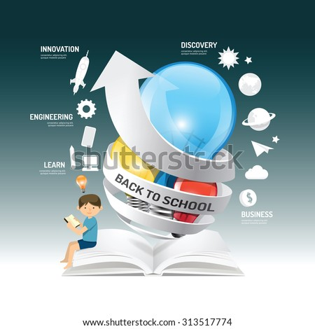 Education infographic innovation idea on light bulb with arrow paper vector Illustration. back to school concept.can be used for layout, banner and web design. - stock vector