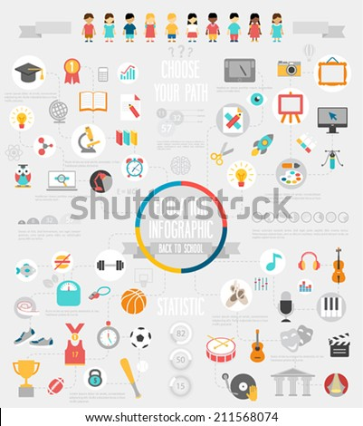 Education Infographic set with charts and other elements. Vector illustration. - stock vector