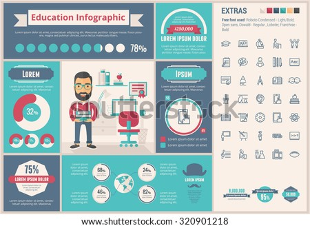 Education infographic template and elements. The template includes illustrations of hipster men and huge awesome set of thin line icons. Modern minimalistic flat vector design. - stock vector