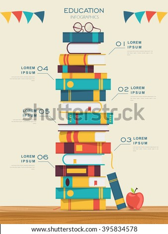 education infographic template design with books pile - stock vector