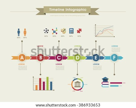 Education Infographic Template Design Timeline Chart Stock Vector - Timeline chart template
