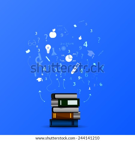 education infographic with book stack and icons on blue background. - stock vector