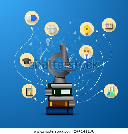 education infographic with book stack and microscope - stock vector