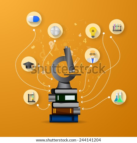 education infographic with book stack and microscope on orange background - stock vector
