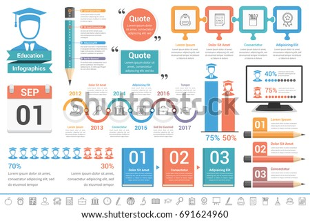 Education infographics design elements, vector eps10 illustration