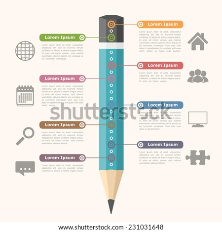 Education infographics with pencil, vector eps10 illustration - stock vector