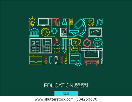 Education integrated thin line symbols. Modern linear style vector concept, with connected flat design icons. Abstract background illustration for elearning, knowledge, learn and global concepts. - stock vector