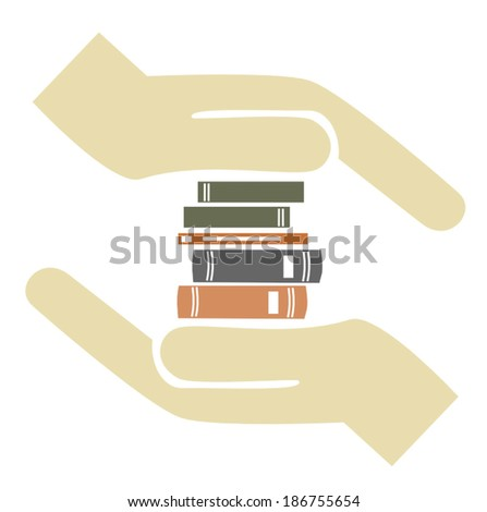 education is worth - holding books on hand - stock vector