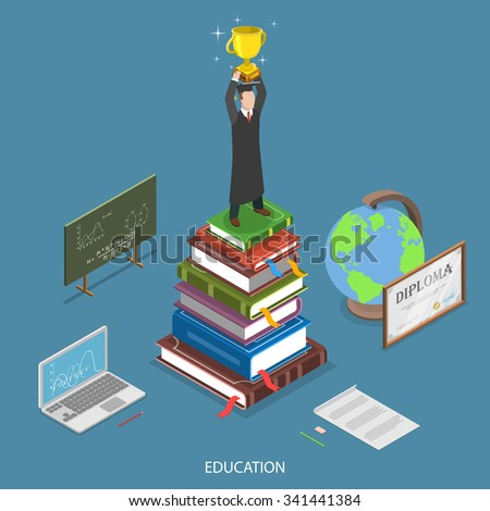 Education isometric flat vector concept. Student with winner cup stay on the stack of books surrounded by education symbols. Online education, e-learning, tutorial, training courses, graduation. - stock vector