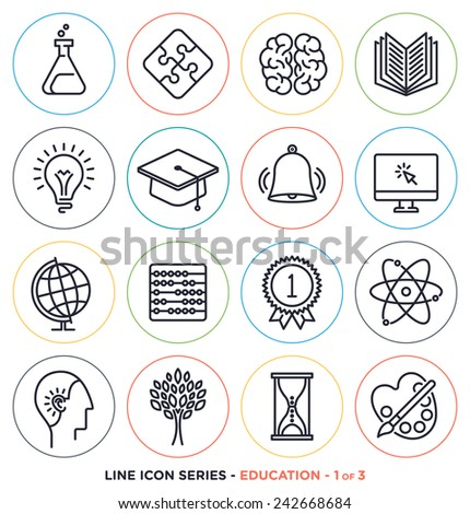 Education & learning line icons set. Vector collection of teaching symbols & educational equipments.  - stock vector
