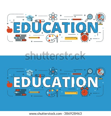 Education lettering flat line design with icons and elements for book cover, report header, presentation,illustration, infographics, printing, website banner and landing page.