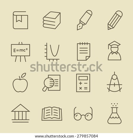Education line icon set - stock vector