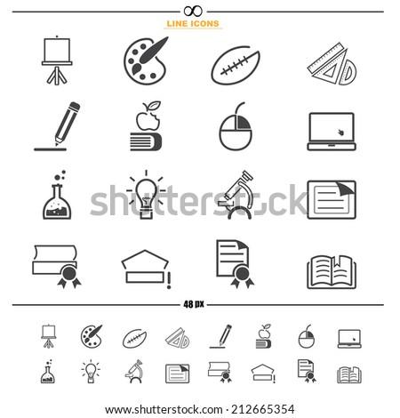Education line icons vector eps10