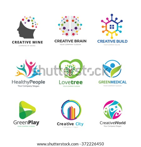 Education logo collection, People and family icon, Tree and green eco brand identity,Creative city vector template. - stock vector