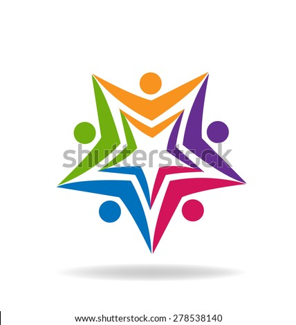 Education logo design vector template. Teamwork student people concept icon. Friendship partnership community group. - stock vector