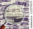EDUCATION. Magnifying glass and seamless background. Vector pattern. Word cloud association concept. - stock photo