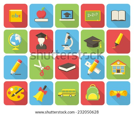 Education, modern flat icon with long shadow - stock vector