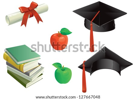 Education. Mortar Boards, books, apple and Diploma. - stock vector