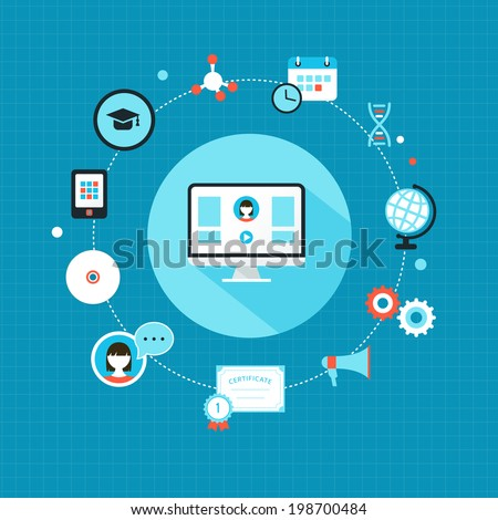 Education Online and Training Courses. Infographic Flat Design - stock vector