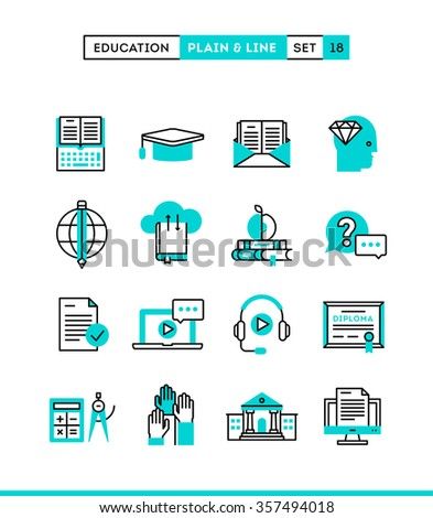 Education,online books, distance learning, webinar and more. Plain and line icons set, flat design, vector illustration - stock vector