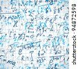 Education or science background with hand written formulas over notepad page. Seamless pattern - vector. - stock photo