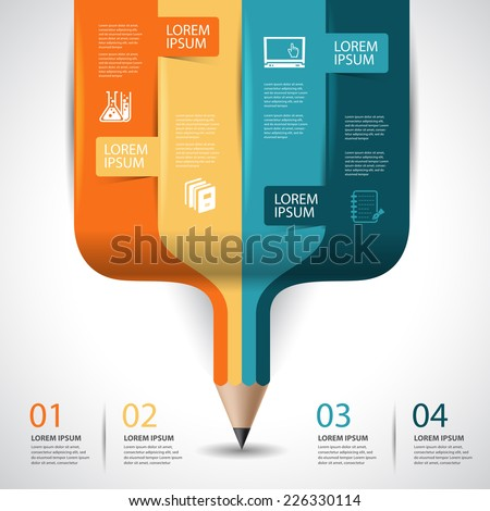 Education pencil Infographics step option. Vector illustration. can be used for workflow layout, banner, diagram, step up options.