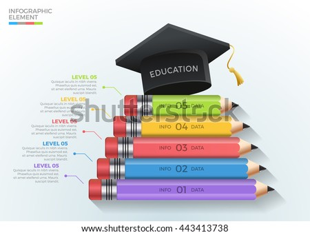Education Pencil Steps graduate infographic template. Vector illustration. can be used for workflow layout, diagram, number options, step up options, web design, banner template, infographic.