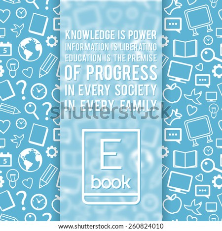 Education poster with seamless pattern and Ebook symbol. Vector background  - stock vector