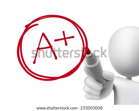 education rating A plus written by 3d man over transparent board - stock vector