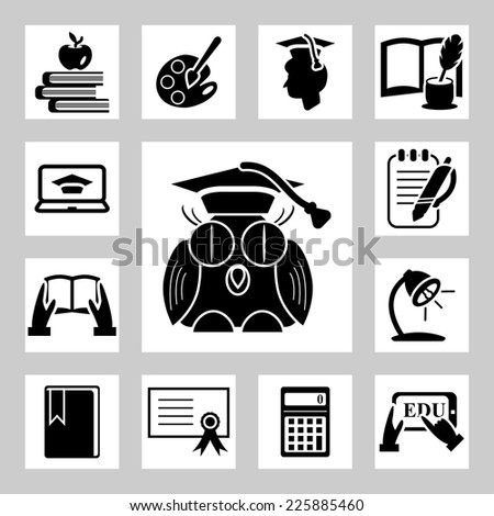 Education related icons set - stock vector