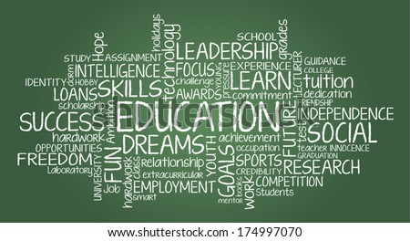Education related tag cloud - stock vector
