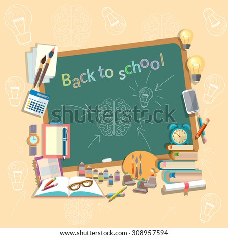 Education school board back to school college school subjects read write draw textbooks study vector concept - stock vector