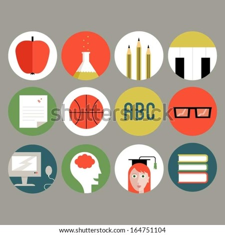 Education, school, college icons - stock vector