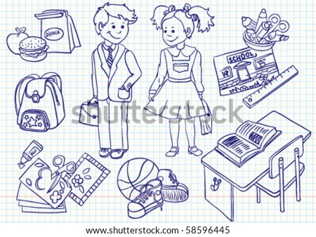 Education ( school) doodles set - stock vector