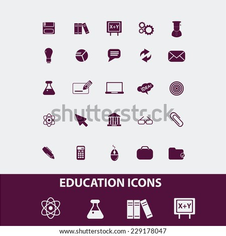 education, school isolated icons, signs, illustrations, vectors set on white background