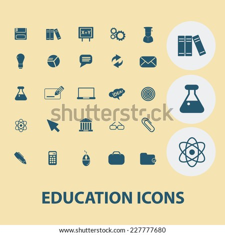 education, school, learning icons, signs, illustrations set, vector