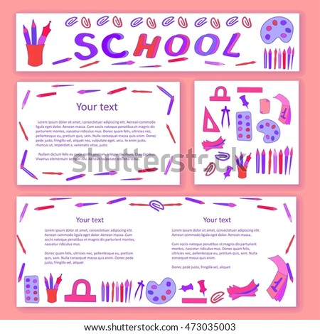 Education / school pattern, brochure. Vector template.