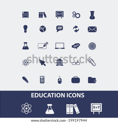 education, school, science, study icons, signs set, vector